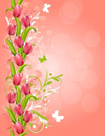 Pink background with tulips Vector