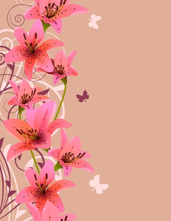 Pink background with lilies Vector
