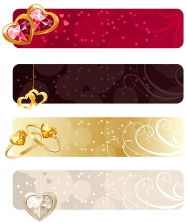 Para banners horizontales con joyas Ilustración de vector