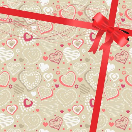 Pattern with beige contour hearts Vector