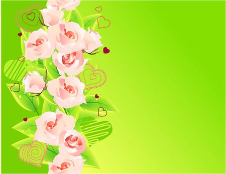 Green background with roses Stock Vector - 8714515