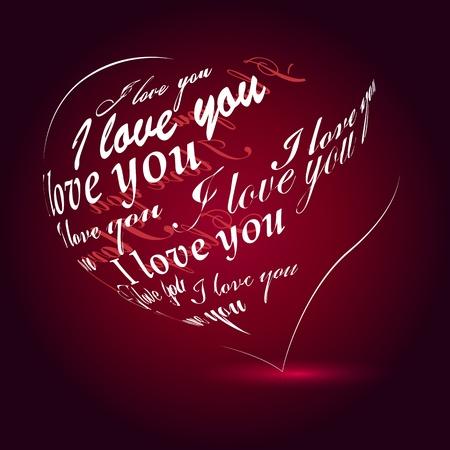 Heart made of I love you phrase Vector