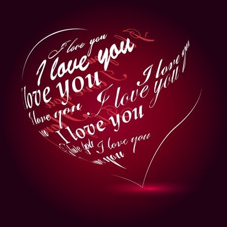 love you: Heart made of I love you phrase Illustration