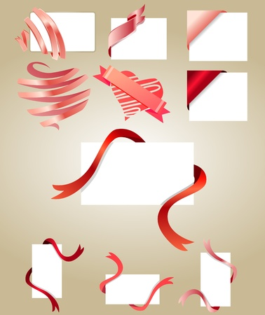 Blank white cards with red ribbons Vector