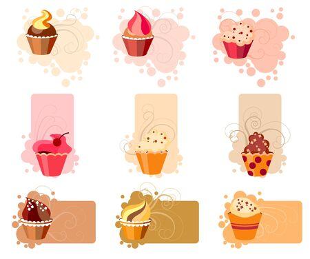 Cupcake colorido conjunto Vectores
