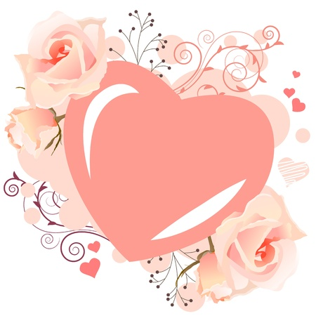 Delicate heart-shaped frame Stock Vector - 8714519