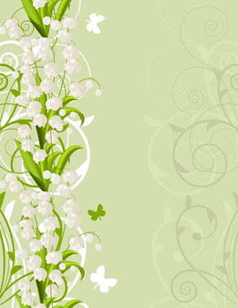 lilies: Light background with lilies of the valley Illustration