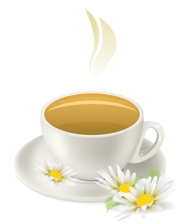 camomile tea: Cup of hot herbal tea