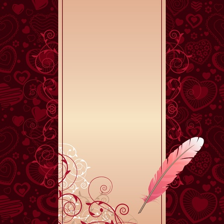 Frame with hearts and feather Vector