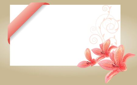 Blank white card with pink ribbon Vector