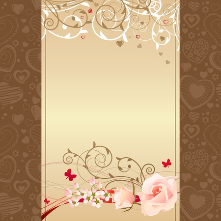 Frame with roses and blossoming branches Vector