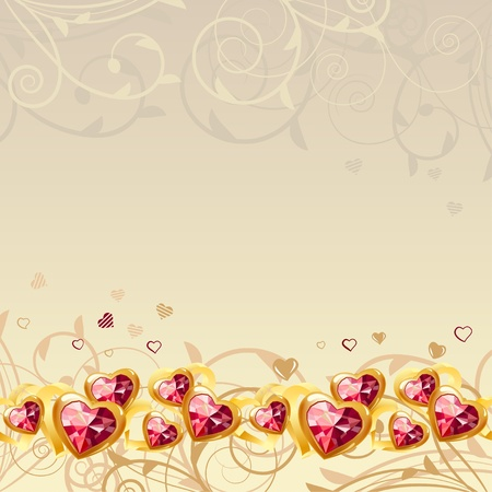 ruby: Frame with gold hearts  Illustration