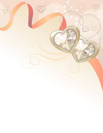 wedding frame: Pastel background with ribbon and gems