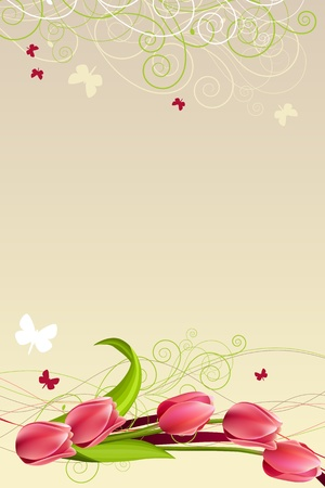 red tulip: Frame with butterflies and tulips