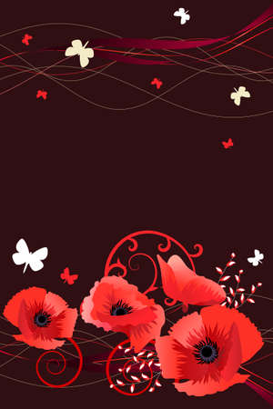 Frame with butterflies and poppies Stock Vector - 8813934
