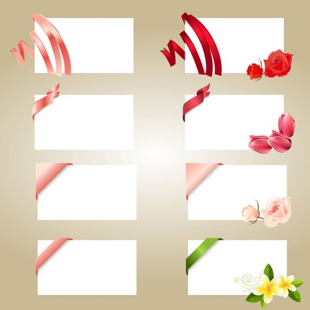 Set of blank white cards with ribbons Stock Vector - 8813942