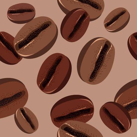 chicchi di caff�: Seamless pattern con chicchi di caff� Vettoriali