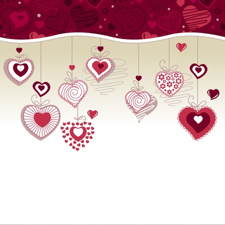 Greeting card with hanging hearts Vector