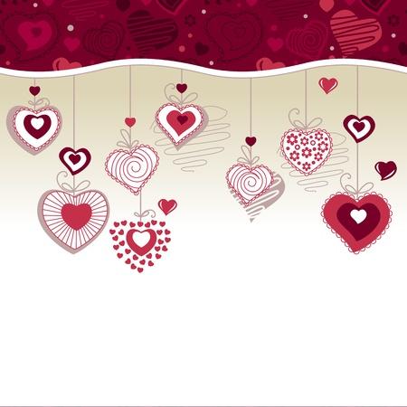 Tarjeta de felicitaci�n con corazones de suspensi�n