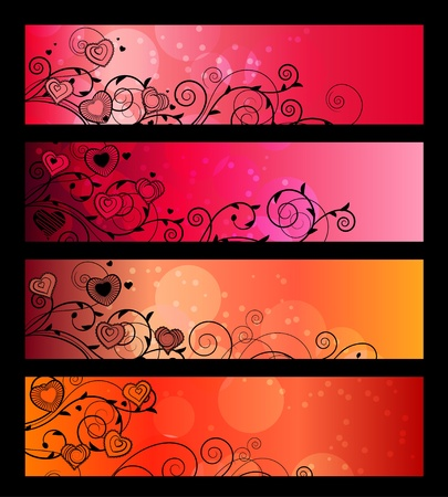 Banners, headers with floral elements Vector