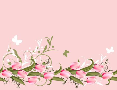 Pink background with tulips Stock Vector - 8813979