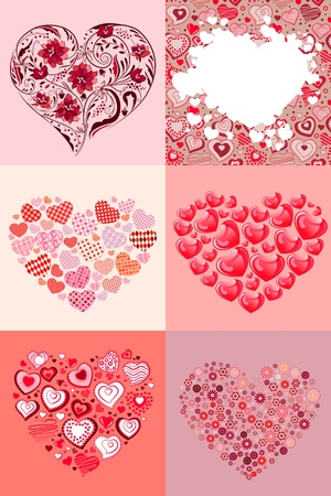 Set of different hearts Vector
