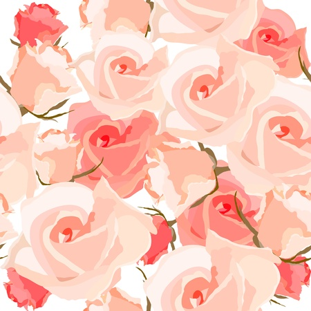 rose bud: Seamless pattern with roses Illustration