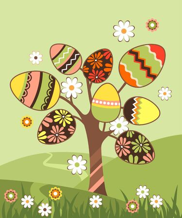 orthodox easter: Landscape with easter tree  Illustration