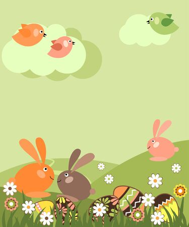 cartoon bunny: Paesaggio di Pasqua