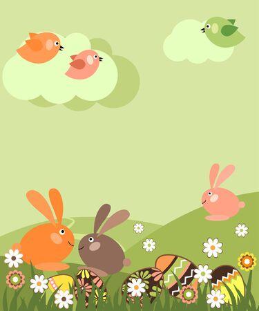 conejo caricatura: Paisaje de Pascua Vectores