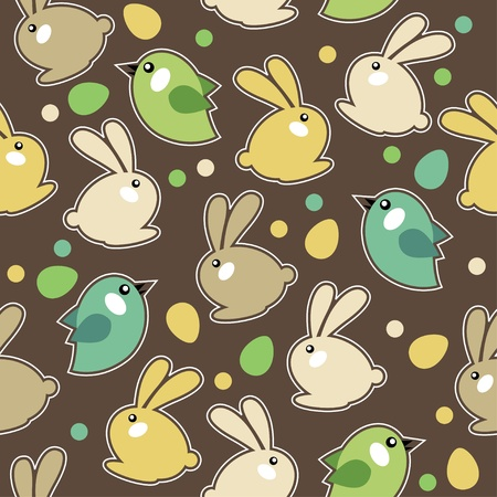 childish: Seamless easter pattern with rabbits Illustration