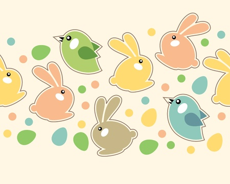 Seamless easter border with rabbits Stock Vector - 8814078