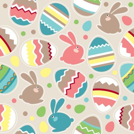 fondos colores pastel: Patr�n de Pascua transparente con conejos Vectores