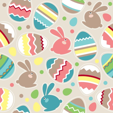 Seamless easter pattern with rabbits Stock Vector - 8909516