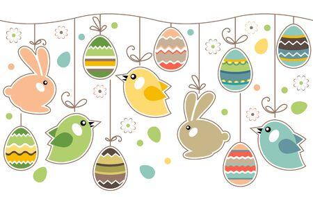 cartoon bunny: Confine di Pasqua senza soluzione di continuit� con conigli Vettoriali