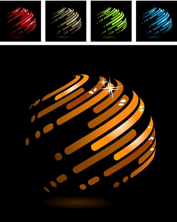 gold globe: Abstract ball made of stripes Illustration