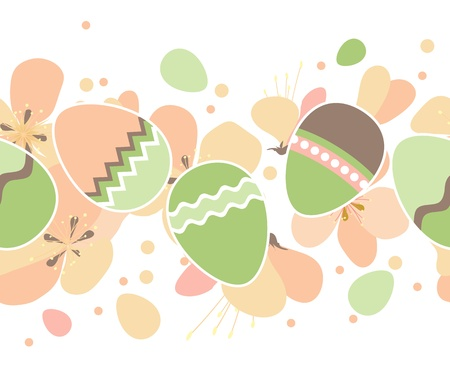 orthodox easter: Seamless horizontal easter pattern with eggs Illustration