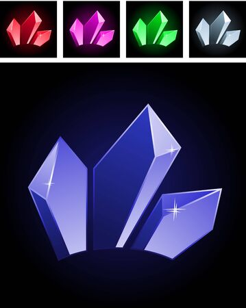 adamant: Collection of stylized gems Illustration