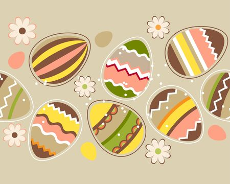 Seamless horizontal easter pattern with eggs Vector