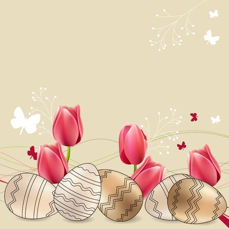 Greeting card with eggs and tulips Vector