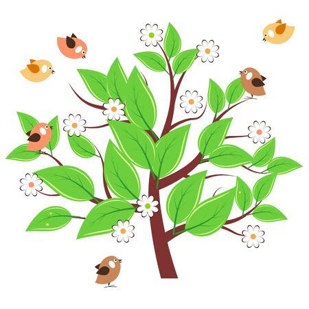 albero stilizzato: Albero stilizzato con foglie verdi