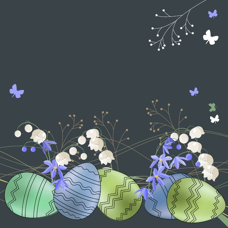 Greeting card with eggs and spring flowers Stock Vector - 9055303