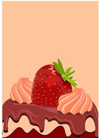 Strawberry on sweet cake Vector