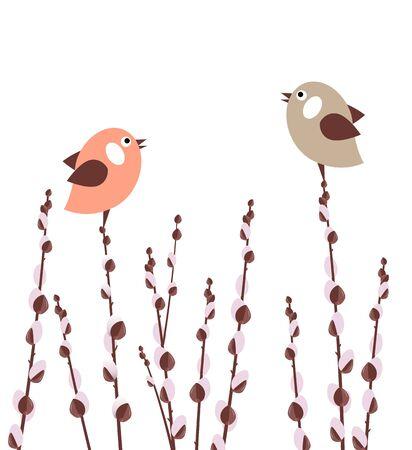Ramas coño willow Ilustración de vector