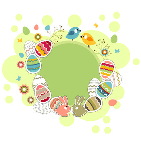 Easter greeting card with eggs Vector