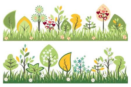 april flowers: Seamless borders Illustration