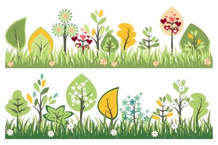 flower meadow: Seamless borders Illustration