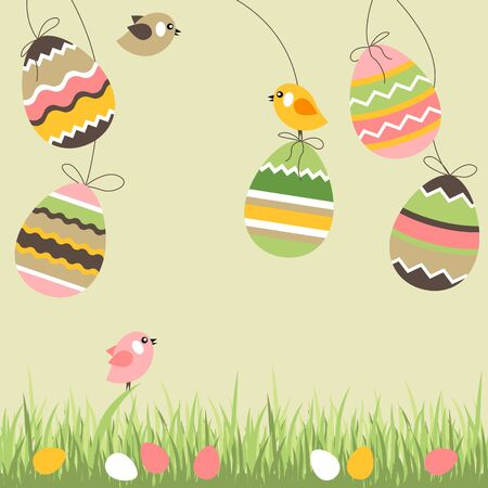 Painted eggs and birds Vector