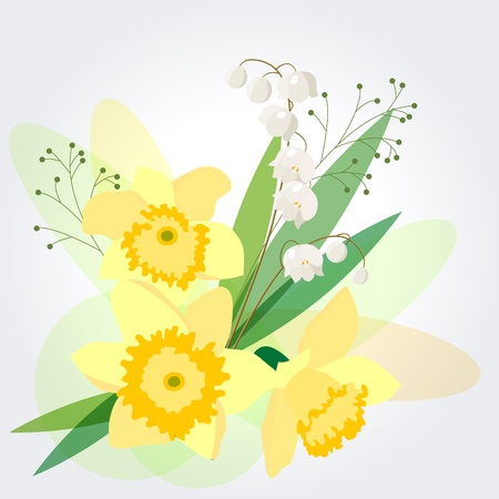 Floral background with daffodils Stock Vector - 9098888