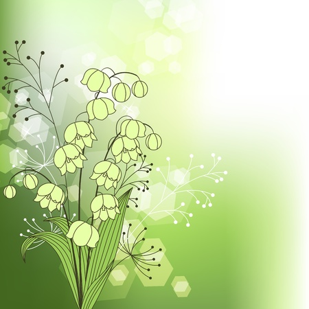 Green background with spring flowers Stock Vector - 9150570